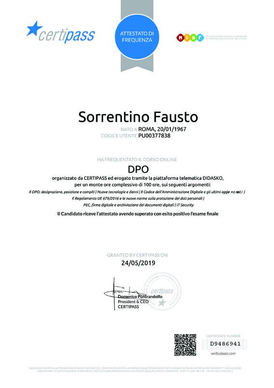Cerificazione DPO Didasko-faustosorrentino